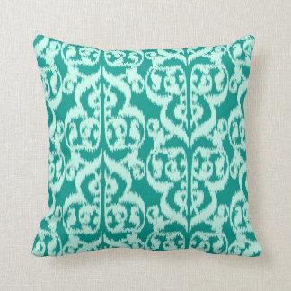Ikat Moorish Damask - peacock and aqua Pillows