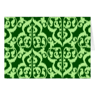 Ikat Moorish Damask - pine and mint green Card