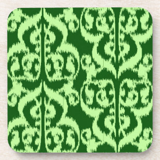 Ikat Moorish Damask - pine and mint green Drink Coaster