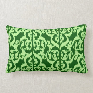 Ikat Moorish Damask - pine and mint green Lumbar Pillow