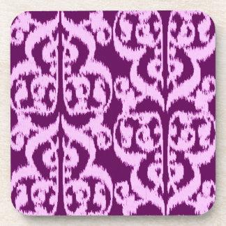 Ikat Moorish Damask - purple and orchid Beverage Coaster