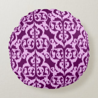 Ikat Moorish Damask - purple and orchid Round Pillow