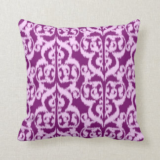 Ikat Moorish Damask - purple and orchid Throw Pillow