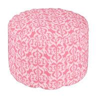 Ikat Moorish Damask - shades of coral pink Round Pouf