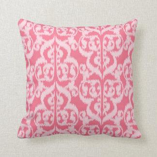 Ikat Moorish Damask - shades of coral pink Throw Pillows