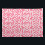 """Ikat Moorish Damask - shades of coral pink Placemat<br><div class=""""desc"""">Intricate Moorish arch pattern with an Ikat woven texture - soft angel skin coral color on a deeper coral pink background</div>"""
