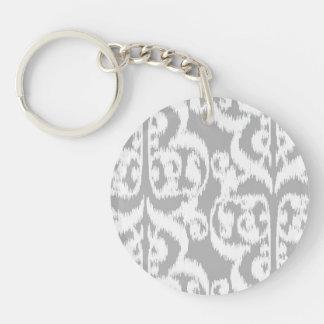 Ikat Moorish Damask - silver gray and white Acrylic Key Chains