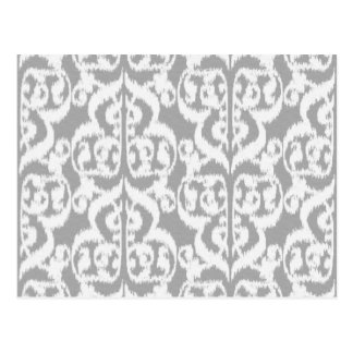Ikat Moorish Damask - silver gray and white Postcard