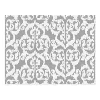 Ikat Moorish Damask - silver gray and white Postcard