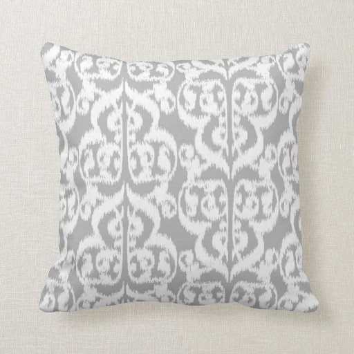 ikat moorish damask silver gray and white throw pillow zazzle. Black Bedroom Furniture Sets. Home Design Ideas