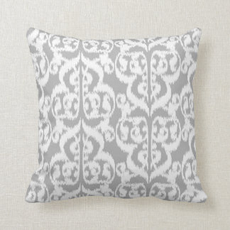 Ikat Moorish Damask - silver gray and white Throw Pillow