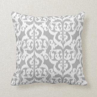 Ikat Moorish Damask - silver gray and white Throw Pillow