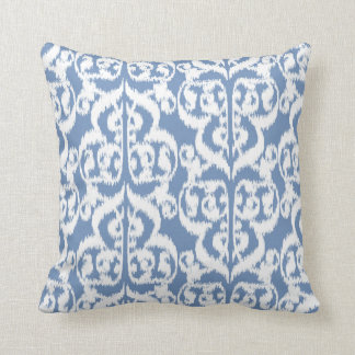 Ikat Moorish Damask - sky blue and white Throw Pillow