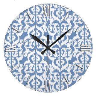Ikat Moorish Damask - sky blue and white Wallclock