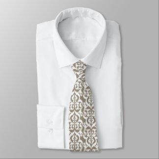 Ikat Moorish Damask - taupe tan and white Neck Tie