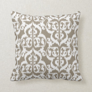 Ikat Moorish Damask - taupe tan and white Throw Pillow