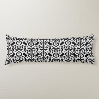 Ikat Moorish Damask - white and black Body Pillow