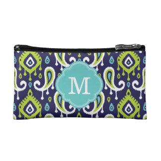 Ikat Paisley Custom Monogram Cosmetics Bags