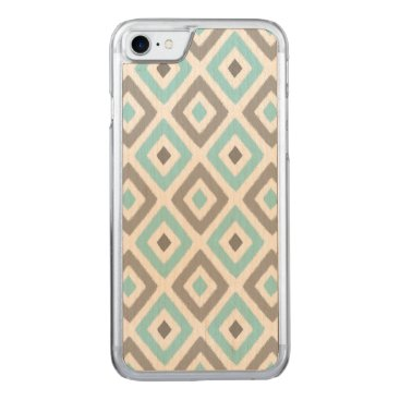 Aztec Themed Ikat Patern Aqua and Grey Diamond Carved iPhone 7 Case