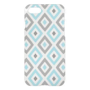 Aztec Themed Ikat Patern Aqua and Grey Diamond iPhone 7 Case
