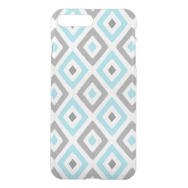 Aztec Themed Ikat Patern Aqua and Grey Diamond iPhone 8 Plus/7 Plus Case