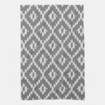 Ikat pattern - Charcoal and silver grey Hand Towels