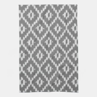 Ikat pattern - Charcoal and silver grey Kitchen Towel