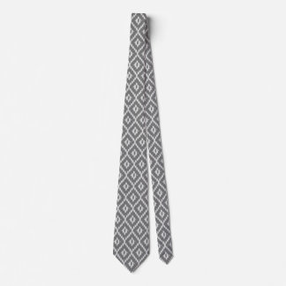 Ikat pattern - Charcoal and silver grey Tie
