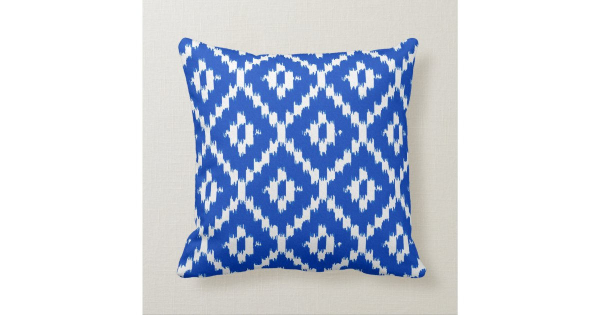 Ikat pattern - Cobalt blue and white Throw Pillow Zazzle