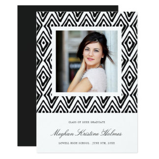 Ikat Pattern Graduation Announcement | Ebony