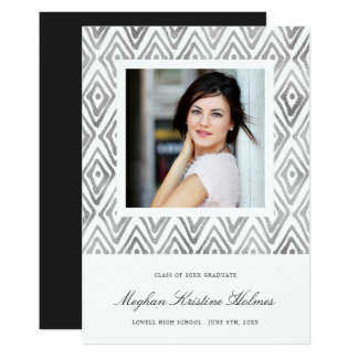 Ikat Pattern Graduation Announcement | Silver