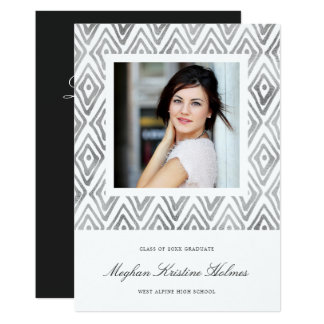 Ikat Pattern Graduation Party Invitation | Silver