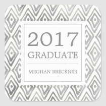 Ikat Pattern Graduation Stickers | Silver