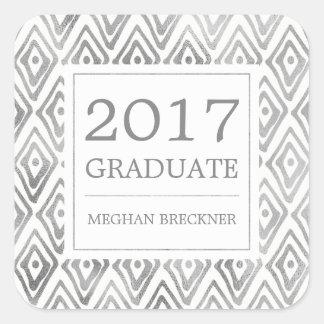 Ikat Pattern Graduation Stickers   Silver