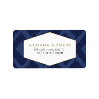 Ikat Pattern in Blue Designer Address Label