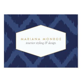 Ikat Pattern in Blue Designer Flat Notecard