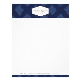 Ikat Pattern in Blue Designer Letterhead
