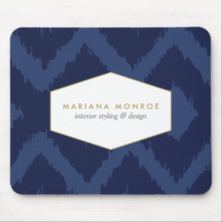 Ikat Pattern in Blue Designer Mouse Pad