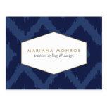 Ikat Pattern in Blue Designer Postcard