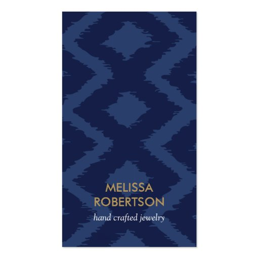 Ikat Pattern in Dark Blue for Jewelry Design Business Cards