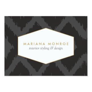 Ikat Pattern in Dark Gray Designer Flat Notecard