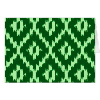 Ikat pattern - Pine green and pale green Card