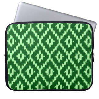 Ikat pattern - Pine green and pale green Computer Sleeve