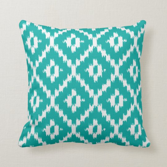 Ikat pattern - Turquoise and white Throw Pillow Zazzle