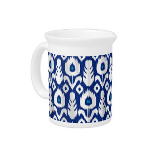 Ikat Peacock Feather Floral Blue Pitcher