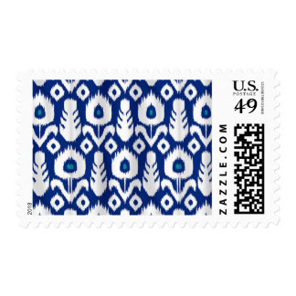 Ikat Peacock Feather Floral Blue Postage