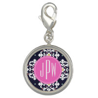 Ikat & Pink Monogram Charm