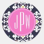 Ikat & Pink Monogram Classic Round Sticker