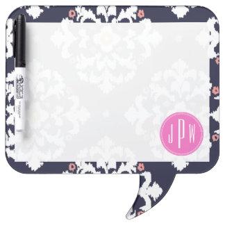Ikat & Pink Monogram Dry-Erase Board
