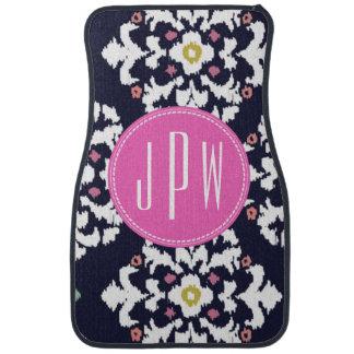 Ikat & Pink Monogram Floor Mat